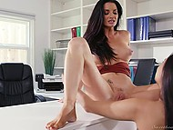 Teen secretary hopes that boss will be kinder after cunnilingus and scissoring on her table