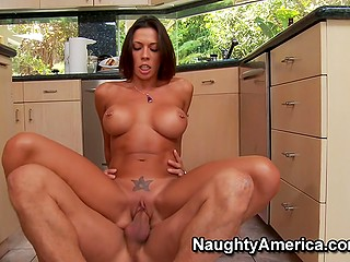 Slick-haired crusher is a reason of Rachel Starr's sexual desire and she lets guy fuck her in the kitchen