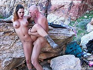 Pretty MILF with shaved pussy loves touches of bald man and his cum dripping down her face