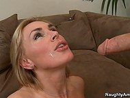 Stud won't come home for another hour and friend kills time fucking his busty stepmom on the couch 11