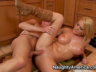 Slutty blonde Krissy Lynn with big oiled breasts cheats on husband with his friend in kitchen