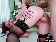 Sex of fascinating secretary in black stockings and boss takes their relations to another level
