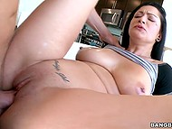 Hot slut Katrina Jade smears natural tits with oil and spreads legs for fucker in gonzo porn video