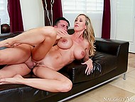Full-bosomed MILF Brandi Love is sure that she is very charming and easily seduces stepson's friend
