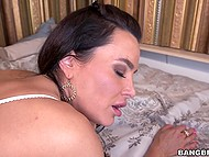 Sex partner with big cock gives anal pleasure to unmatched Lisa Ann fucking her in doggystyle 11