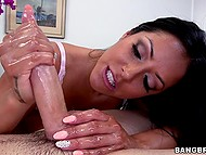 Gorgeous masseuse Kiara Mia during process notices client's boner and wants to stroke it