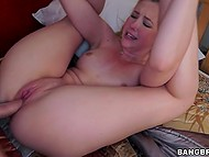 Tight pussy of college blonde Samantha Rone stretched by skillful guy with erect prick