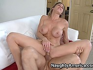 Busty fucking queen gets twat exploited making cock work inside and cum over face