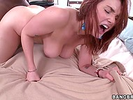 Redhead with smokin' hot natural boobs fools around with black man who cums in her mouth 4