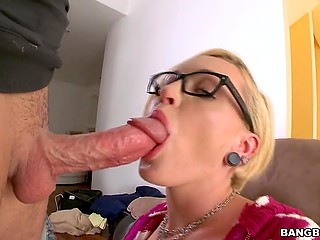Nerdy blonde girl with ear stretching plugs decides to show cocksucking skills in gonzo video