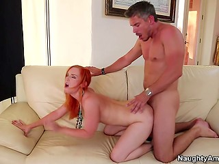 Cute redhead has tushy covered with sperm of Mick Blue after being carnal with him