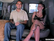 Busty girl with shaved temples picks up a teenager and he fucks brunette's cunt in minivan 4