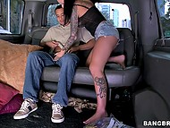 Busty girl with shaved temples picks up a teenager and he fucks brunette's cunt in minivan 5