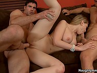 After threesome sex with husband and stepson, Kagney Linn Karter obtains cum on pretty face