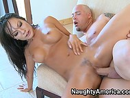 Horny Asian MILF Asa Akira satisfies tattooed big man with her trimmed twat till he cums on pussy lips