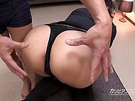 Guy can't deny himself pleasure of playing with wonderful ass of Japanese girl in fishnets and boots 4