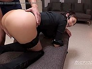 Guy can't deny himself pleasure of playing with wonderful ass of Japanese girl in fishnets and boots 5