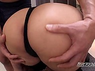 Guy can't deny himself pleasure of playing with wonderful ass of Japanese girl in fishnets and boots 6