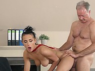 Brunette young secretary fucked by old boss in his office till sperms fills her mouth