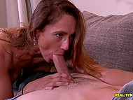 Guy's attention flatters likable MILF and she rides his cock after works on it using mouth 6