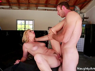 Slutty blonde Lexi Belle rides cock of boyfriend's friend hoping to earn money to repair truck