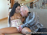 Experienced Asa Akira understands that cocksucking is the best way to relax bald client