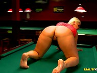 Big-boobied diva takes cock in mouth and gets rammed by lover for losing pool game 6