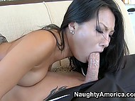 Hot sex of Asian MILF Asa Akira and bald man who gets luck to reach her muff and shove cock inside