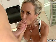 Adorable MILF Brandi Love with big boobies looks for work and has fun with potential employer