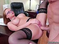Female boss' birthday continues with hardcore sex with handsome subordinate on her desk