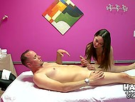 Thai has mouth drilled and needs client to penetrate her twat on the massage table 10