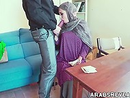 Man offers enticing Arab chick money and finally gets access to her trimmed snatch 6