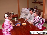 After girl drinks beer, she falls asleep and Japanese chick in kimono has the opportunity to practice sex with boyfriend 4