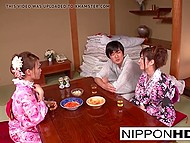 After girl drinks beer, she falls asleep and Japanese chick in kimono has the opportunity to practice sex with boyfriend 5