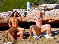 Temptresses appreciate their breadwinners and take them to the beach to do it together 9