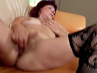 Mature minx in stockings stretches unshaved pussy with fingers and goes to piss outdoors 8