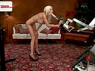 Swedish porn actress receives an offer for solo scene where she has to test fucking machine