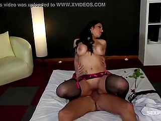 Brunette Portugal lovely with big tits has good sex with bald man instead of giving him massage