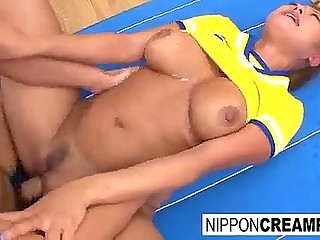 Guys ejaculate on face of Japanese cheerleader with wonderful melons at a time when one of them fucks pussy