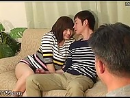 After lover fucks Japanese chick from behind and cums in pussy, her husband does the same thing 9