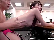 Young Japanese boss in stockings brings office workers together to be fucked by each of them 10