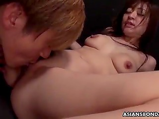 Japanese ineptly poses on camera but male spreads labia and licks hairy pink pussy