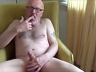 Mature guy relaxes in living room with slender blonde who loves to be drilled with nice cock 8