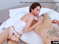 Guy with tattoos decides to pamper himself with wonderful ladyboy in white stockings to fuck