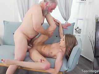 Tiny sweetie with great body shapes wants to be penetrated and her old stepfather wants to fuck her too
