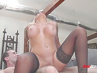 Man likes that he can fuck blonde wife Nina Elle with huge breasts like a dirty whore 9
