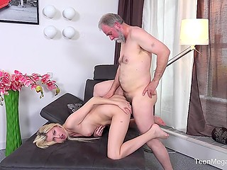 Charming young blonde finds old benefactor who gives her money and satisfies pussy