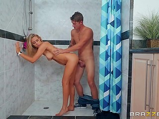Sweet blonde teen welcomes tricky stepbrother in the shower cabin fooling around with him