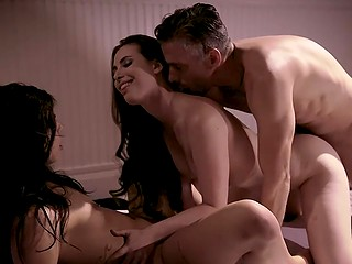 Experienced pervert couple forces captivating brunette to have emotional threesome
