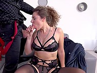 Nerdy landlord jerks off sniffing panties of curly girl who catches him and takes cock in mouth